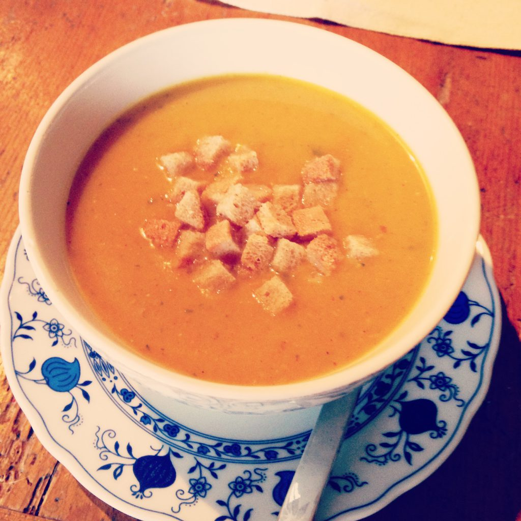 pumpkin soup made from pumpkin puree